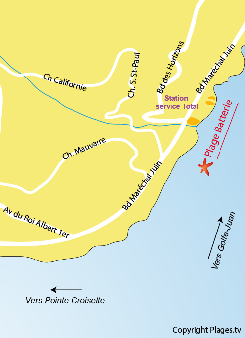 Map of the Batterie Beach in Cannes