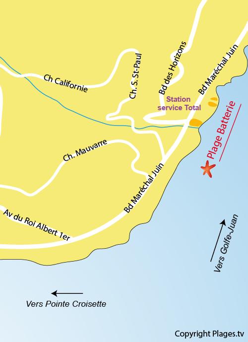Carte de la plage de la Batterie à Cannes