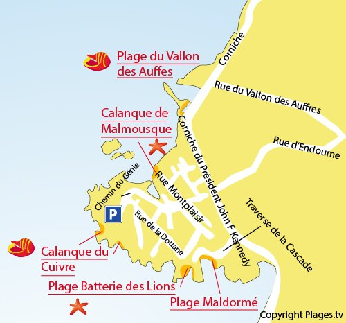 Map of  Batterie des Lions beach in Marseille