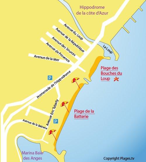 Map of Batterie Beach in Villeneuve-Loubet