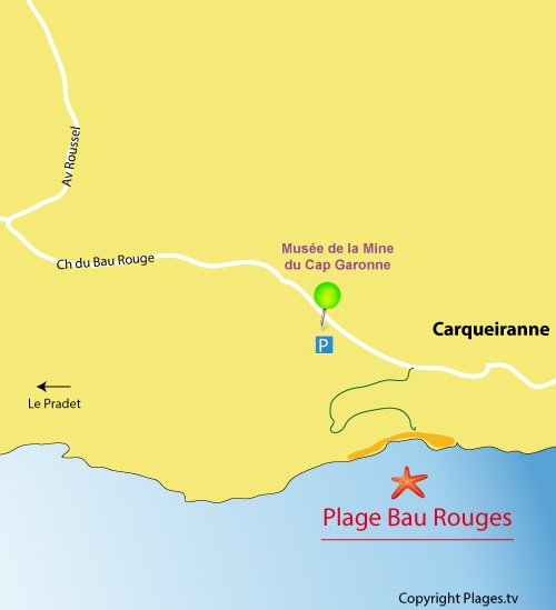 Map of Bau Rouges Beach in Carqueiranne