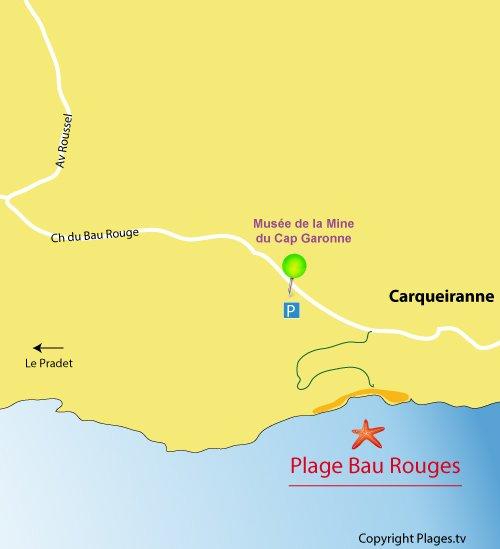 Mappa della Spiaggia  Bau Rouges a Carqueiranne