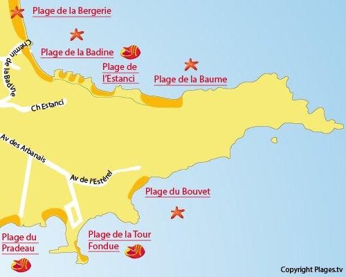 Plan de la plage de la Baume à Hyères