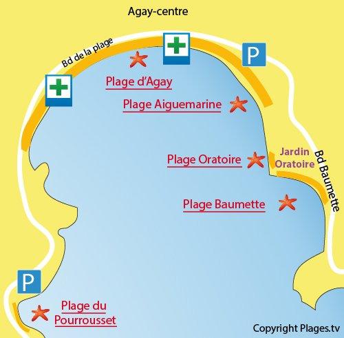 Map of Baumette Beach in Agay