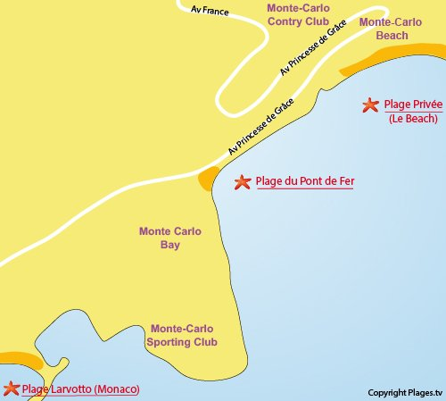 Map of Pont de Fer Beach in Roquebrune Cap Martin et Monaco