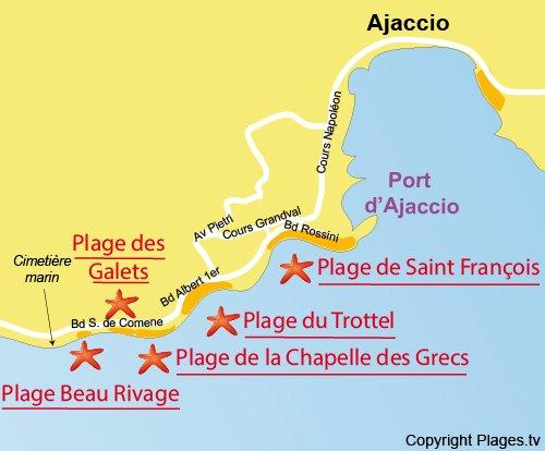 Carte de la plage Beau Rivage à Ajaccio