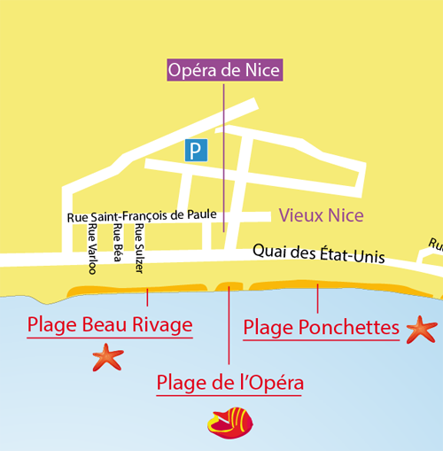 Map of the Beau Rivage Beach in Nice