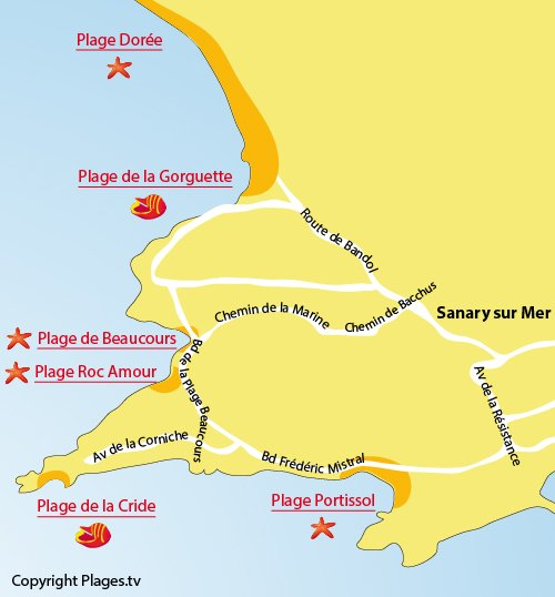 Map of Beaucours Beach in Sanary sur Mer