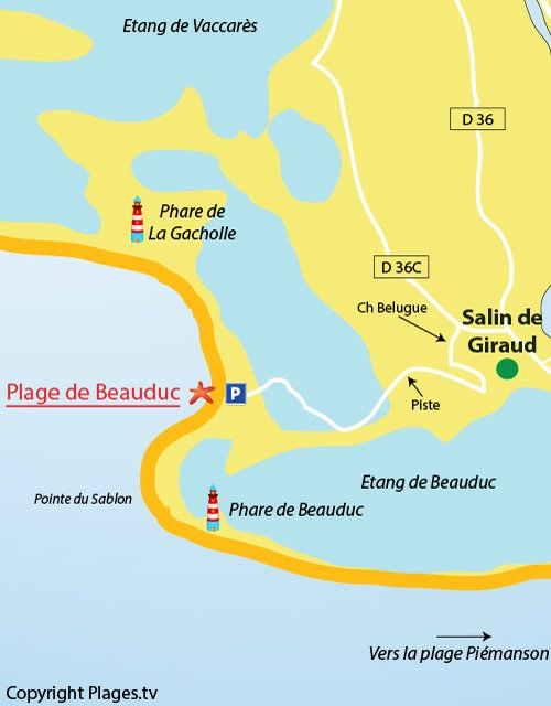 Map of the Beauduc beach in France