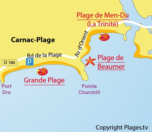 Map of Beaumer beach in Carnac
