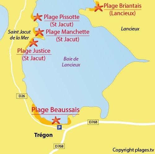 Carte de la plage de la Beaussais à Trégon