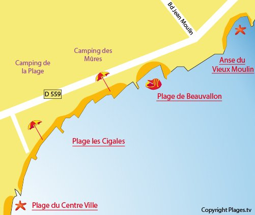 Plan de la plage de Beauvallon à Port Grimaud