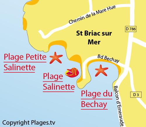 Carte de la plage du Bechay à St Briac sur Mer