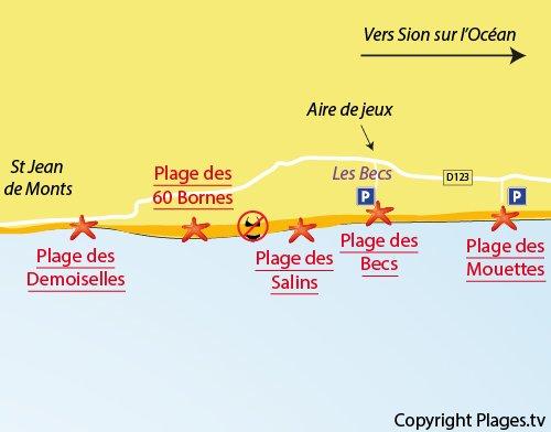 Map of Becs Beach in Saint Hilaire de Riez