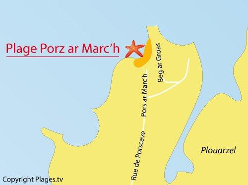 Carte de la plage de Porz ar Marc'h à Lampaul Plouarzel