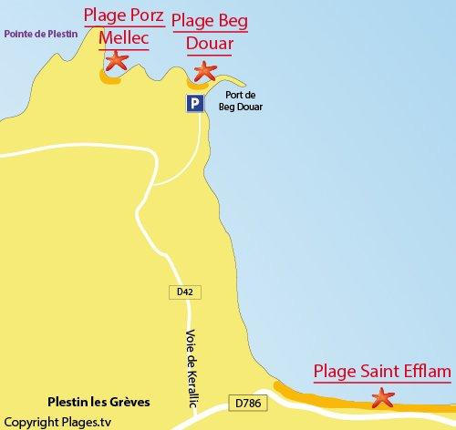 Carte de la plage de Beg Douar à Plestin les Grèves