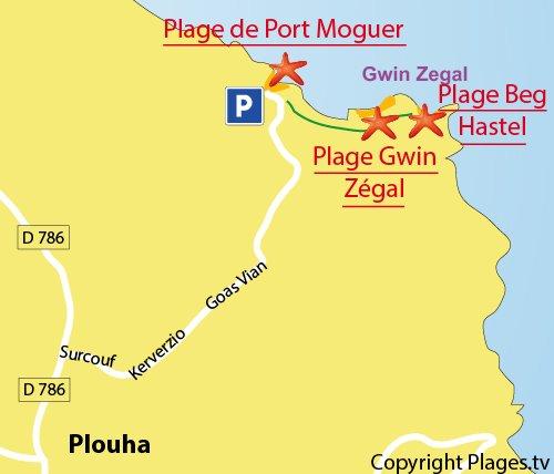 Carte de la plage de Beg Hastel à Plouha
