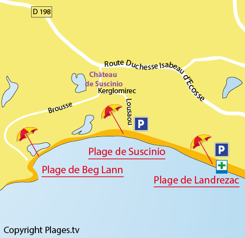Carte de la plage de Beg Lann à Sarzeau