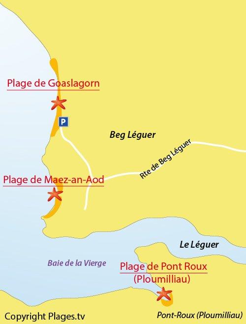 Plan de la plage de Beg Leguer à Lannion