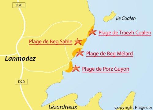 Carte de la plage de Beg Mélard à Lanmodez