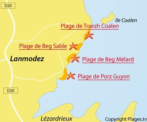Carte de la plage de Beg Sable à Lanmodez