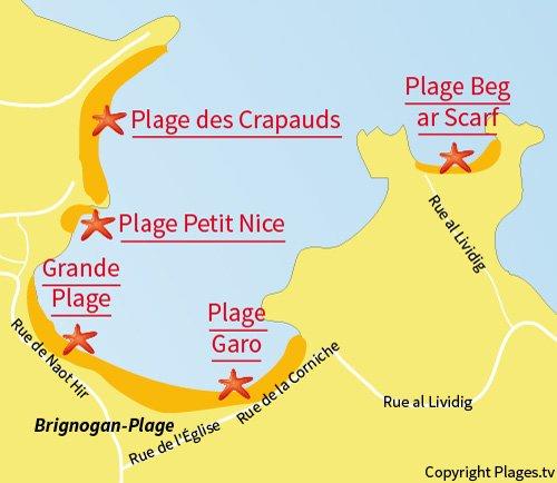 Carte de la plage de Beg ar Scarf à Brignogan-Plage