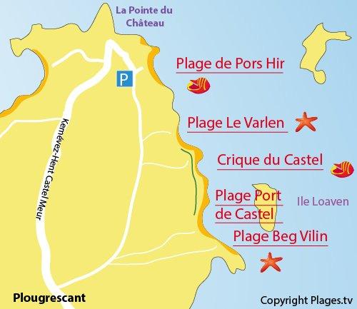 Carte de la plage de Beg Vilin à Plougrescant