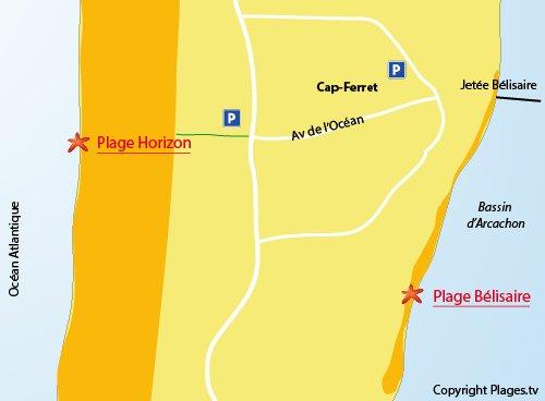Plan de la plage Bélisaire du Cap Ferret