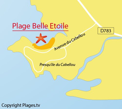 Map of Belle Etoile Beach in Concarneau