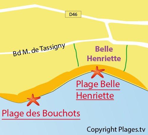 Map of Belle Henriette Beach in La Tranche sur Mer