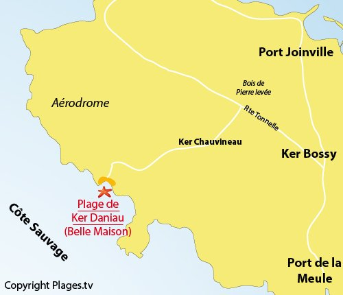 Map of Belle Maison Beach in ile d'Yeu