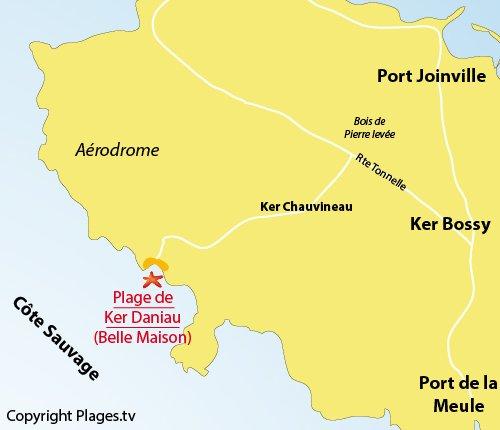 Plan de la plage de Ker Daniau sur l'ile d'Yeu