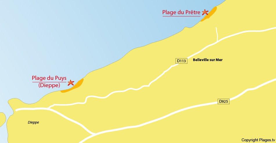 Carte de la plage de Belleville sur Mer