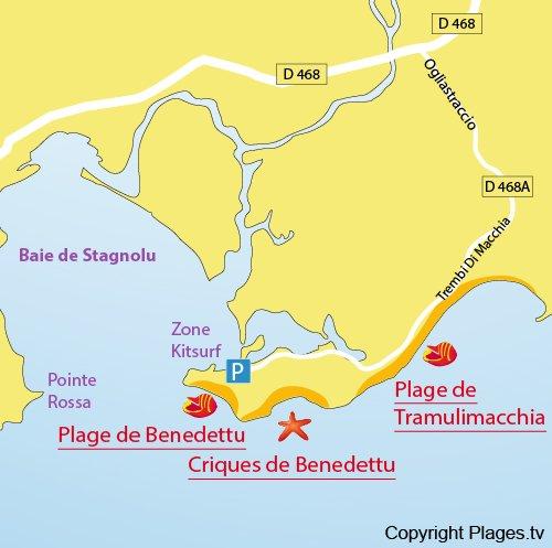 Mappa della Spiaggia di Benedettu - Corsica