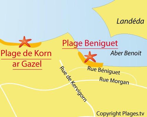 Carte de la plage de Beniguet à Saint Pabu
