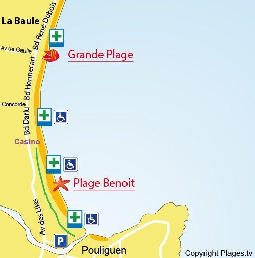 Map of Benoit Beach in La Baule