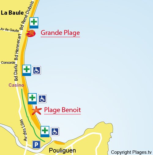 Carte de la plage Benoit de La Baule
