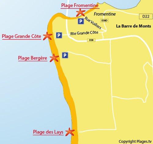 Plan de la plage de la Bergère à la Barre de Monts