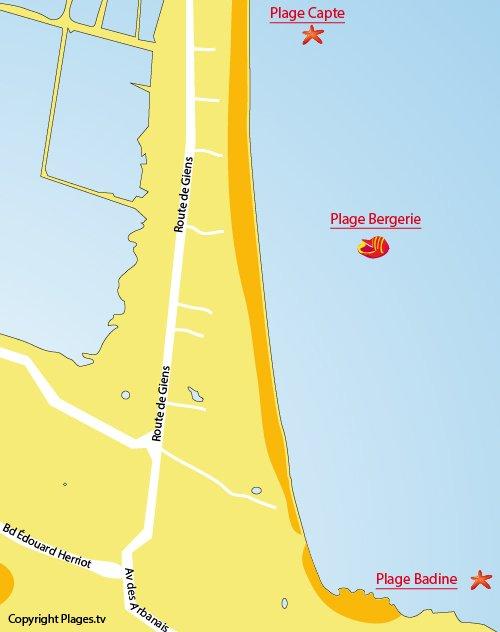 Carte de la plage de la Bergerie à Hyères
