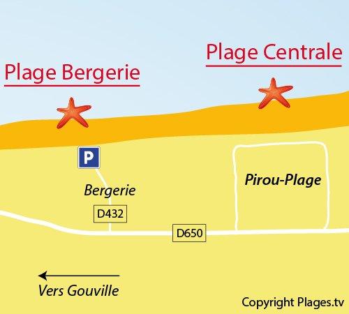 Carte de la plage de la Bergerie à Pirou
