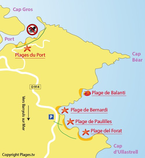 Map of Bernardi Beach in Port Vendrès