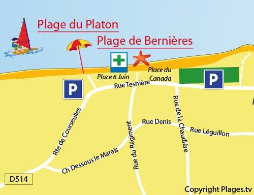 Map of Bernières sur Mer beach