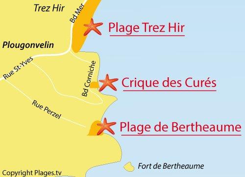 Carte de la plage de Bertheaume à Plougonvelin