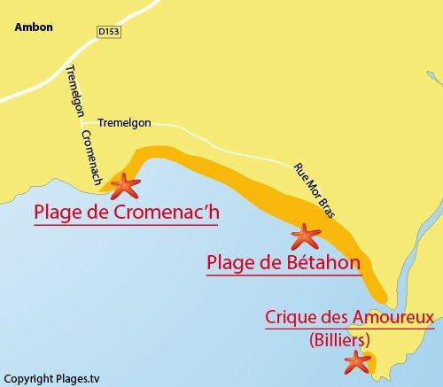 Carte de la plage de Bétahon à Ambon - 56