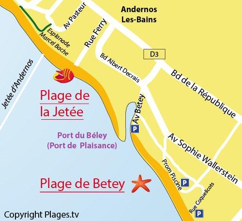 Plan de la plage de Betey à Andernos les Bains