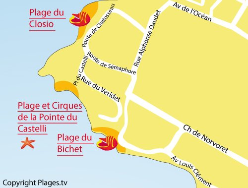 Map of Bichet Beach in Piriac sur Mer