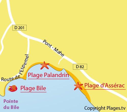 Carte de la plage du Bile à Pénestin