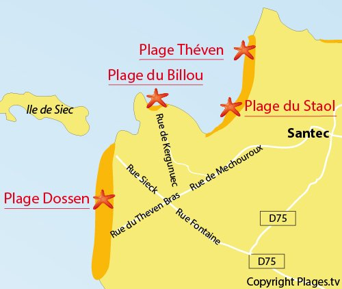 Map of Billou Beach in Santec