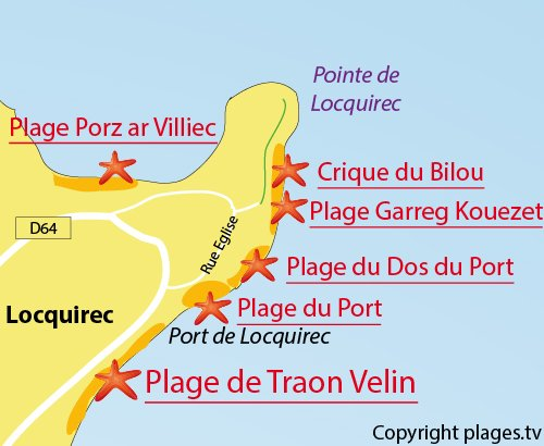 Carte de la plage du Bilou à Locquirec