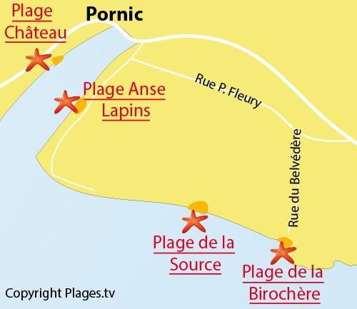 Carte de la plage de la Birochère à Pornic